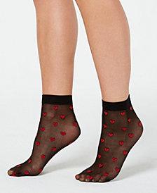 I.N.C. Sheer Heart Anklet Socks, Created for Macy's
