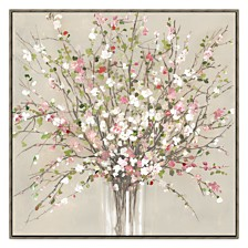 Peach Blossom Framed Hand Embellished Canvas