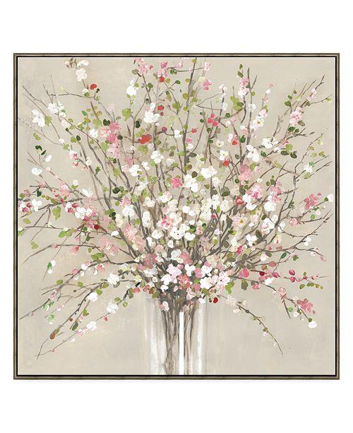 Artissimo Designs Peach Blossom Framed Hand Embellished Canvas