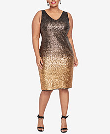 RACHEL Rachel Roy Plus Size Tricolor Ombré Sheath Dress