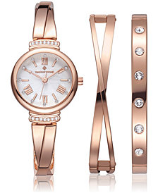 Women's 'Legato' Crystal Accented Roman Numeral Dainty Watch and Bracelet Gift Set