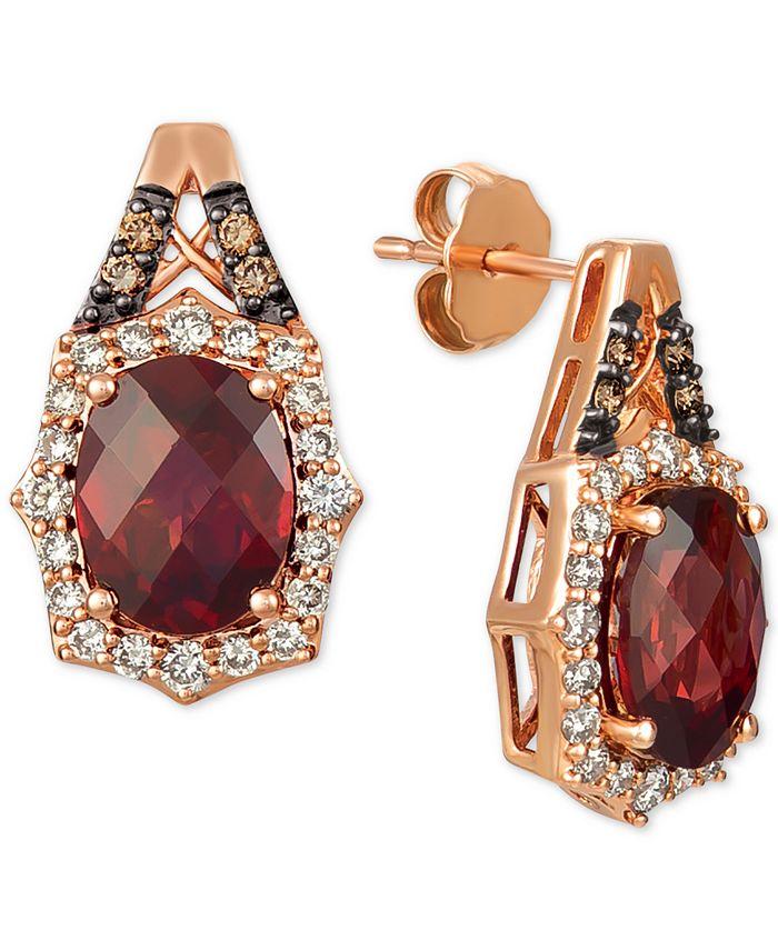 Le Vian - Rhodolite Garnet (4 ct. t.w.) & Diamond (5/8 ct. t.w.) Stud Earrings in 14k Rose Gold