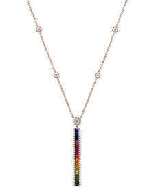 Effy Multi Sapphire (2 1/5 Ct.t.w.) and Diamond (1/2 Ct.t.w.) Pendant in 14k Rose Gold