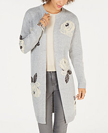 Style & Co Embroidered Floral-Jacquard Long Cardigan, Created for Macy's