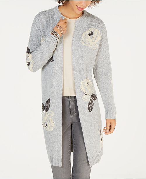 Style   Co Embroidered Floral-Jacquard Long Cardigan f6a16ea42