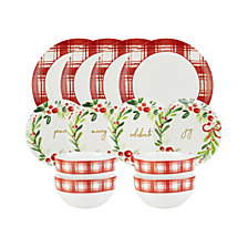 American Atelier Mistletoe Memories Red Plaid 12-Pc. Dinnerware Set, Service for 4, Created for Macy's