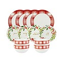 American Atelier Mistletoe Memories Red Plaid 12-Pc. Dinnerware Set