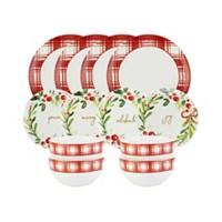 Deals on American Atelier Mistletoe Memories 12-Pc.Dinnerware Set
