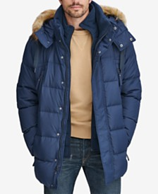Marc New York Men's Long Snorkel Down Coat with Faux-Fur Trim