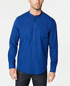 Alfani Men's Stripe Band-Collar Shirt, Created for Macy's