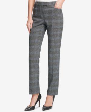 Plaid Princeton Slim-Fit Pants, Plume Multi