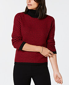 Karen Scott Cotton Patterned Turtleneck, Created for Macy's