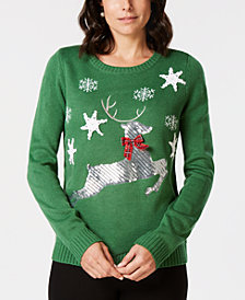 Karen Scott Petite Sequined Reindeer Sweater, Created for Macy's