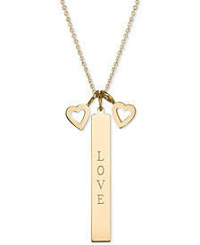 "Sarah Chloe Heart & Message Bar Triple Charm 16""-18"" Pendant Necklace in 14k Gold-Plated Sterling Silver"
