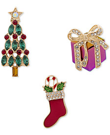 Anne Klein Gold-Tone 3-Pc. Set Crystal & Stone Holiday Pins, Created for Macy's