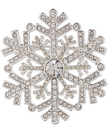 Anne Klein Silver-Tone Crystal Snowflake Pin, Created for Macy's