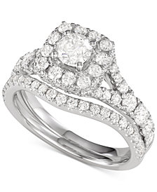 Diamond Halo Bridal Set (2 ct. t.w.) in 14k White Gold