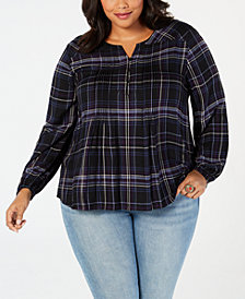 Style & Co Plus Size Plaid Pleated Blouse, Created for Macy's