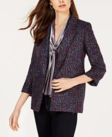 Nine West Tweed Multicolor Flyaway Blazer
