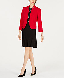 Nine West Kiss-Front Blazer, Floral-Print Shell & Pleated Skirt