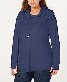 Belldini Plus Size Asymmetrical Cowl-Neck Sweatshirt