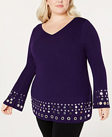 Belldini Plus Size Hardware-Embellished Top