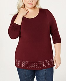 Plus Size Embellished Knit Top