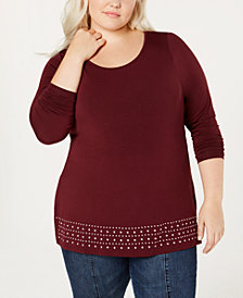 Belle by Belldini Plus Size Embellished Knit Top