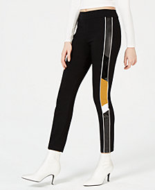 Bar III Faux-Leather-Stripe Skinny Pants, Created for Macy's