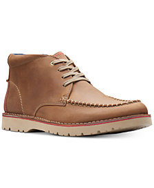 Clarks Men's Vargo Apron-Toe Leather Chukka Boots, Created for Macy's