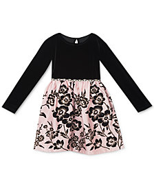 Rare Editions Baby Girls Velvet & Flocked Dress