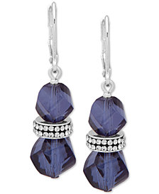 Anne Klein Faceted Bead & Crystal Drop Earrings, Created for Macy's