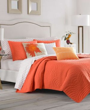 Trina Turk Palm Desert Ladybug Orange Twin Quilt Set Bedding 6245795