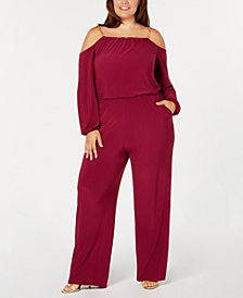 NY Collection Plus & Petite Plus Size Chain-Strap Blouson Jumpsuit