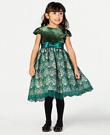 Jayne Copeland Little Girls Velvet Lace Dress