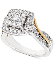 Diamond Two-Tone Square Halo Cluster Engagement Ring (1-1/4 ct. t.w.) in 14k Gold & White Gold