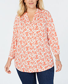 Charter Club Plus Size Floral-Print Pleated V-Neck Top, Created for Macy's