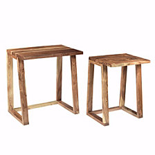 Wooden Side Tables, Set of Two, Brown