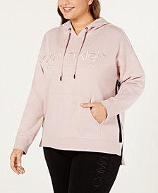 Calvin Klein Performance Plus Size Logo Fleece High-Low Hem Hoodie