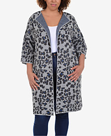 NY Collection Plus Size Long Animal-Print Jacquard Knit Cardigan