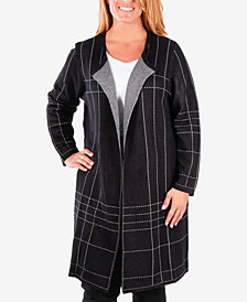 NY Collection Plus Size Jacquard Plaid Cardigan