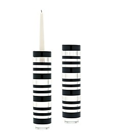 Sliced Tuxedo Crystal Candleholder - Large. Set Of 2