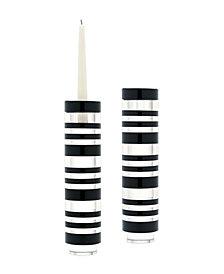 Sliced Tuxedo Crystal Candleholder - Large. Set Of 2