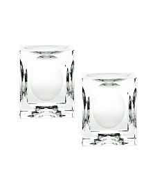 Dimpled Crystal Cube Candle Holders- Set of 2