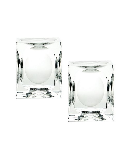 Dimond Home Dimpled Crystal Cube Candle Holders- Set of 2