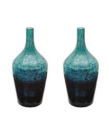 Set Of 2 Emerald Ombre Bottles