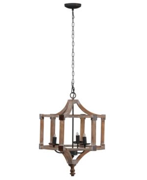Image of Andreas Wood And Iron Round Chandelier