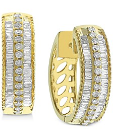Diamond Hoop Earrings (1/2 ct. t.w.) in 14k Gold-Plated Sterling Silver