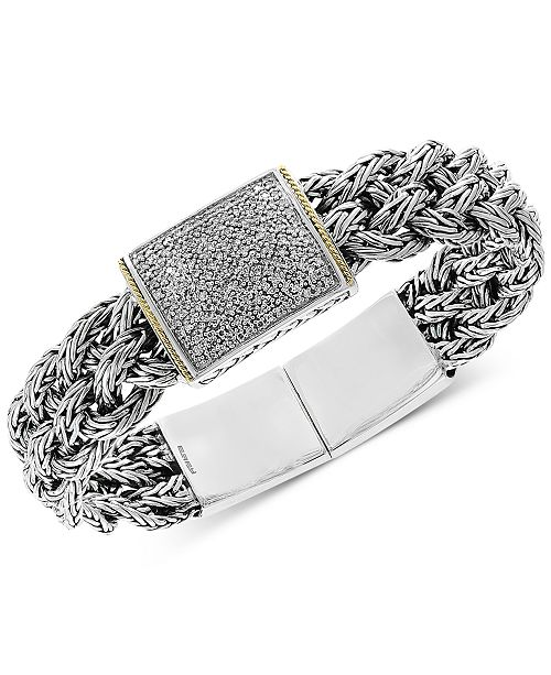 EFFY Collection Diamond Pavé Woven Bracelet (1/2 ct. t.w.) in Sterling Silver & 18k Gold