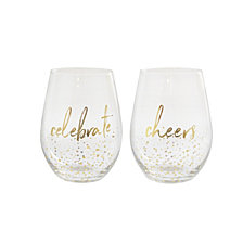 American Atelier Mistletoe Memories Celebrate & Cheers Stemless Goblets, Set of 2, Created for Macy's
